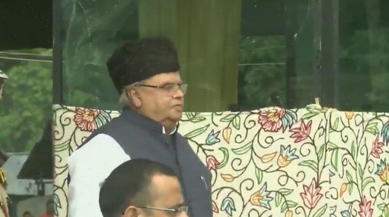 After unfurling the flag, Malik inspected the parade of para-military forces and Jammu and Kashmir Police. (Photo: ANI)