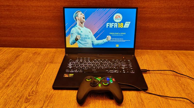 This 15.6-inch gaming laptop packs everything it has in a very compact setup with sleek yet sharp edges and rounded-off corners.
