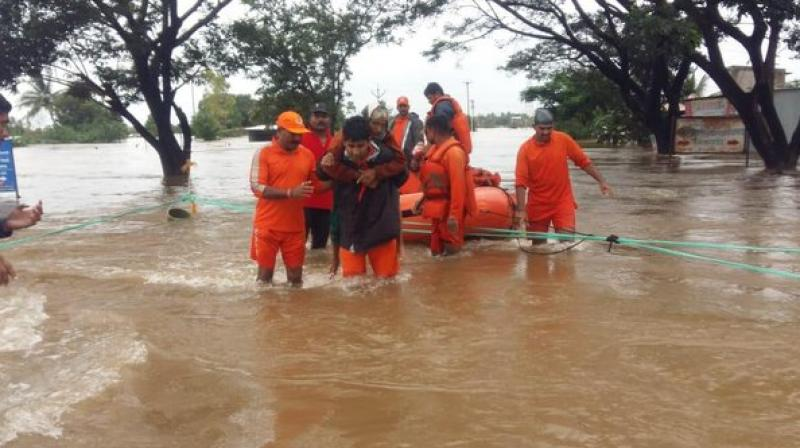 The National Disaster Response Force (NDRF) teams continuing with the rescue and relief operations in Shirol and Kolhapur. (Photo: ANI)
