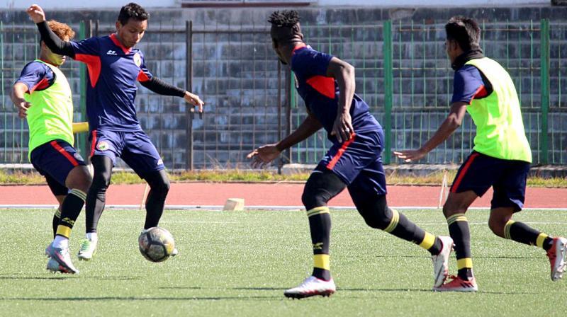 Shillong Lajong players at training session on Thursday.