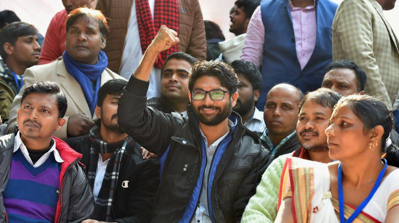 Dalit leader and Gujarat MLA Jignesh Mevani during Youth Hunkar rally in New Delhi on Tuesday. (Photo: PTI)