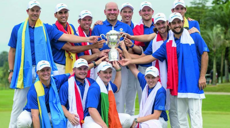 Team Europe pose with the trophy after winning the Eurasia Cup tournament at the Glenmarie Golf and Country Club in Shah Alam, near Kuala Lumpur, on Sunday. (Photo: AFP)