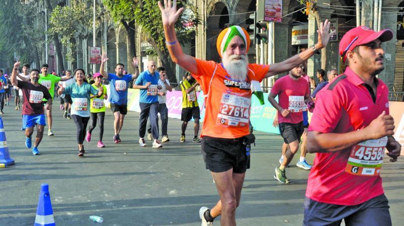 Senior citizens took part in the marathon with great enthusiasm. (Photo: Shripad Naik)