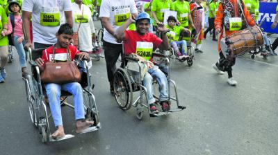 Differently-abled persons took part in the marathon with great enthusiasm. (Photo: Shripad naik)