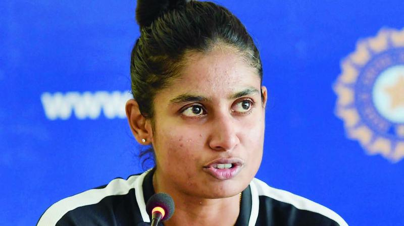 Mithali Raj at a press conference.