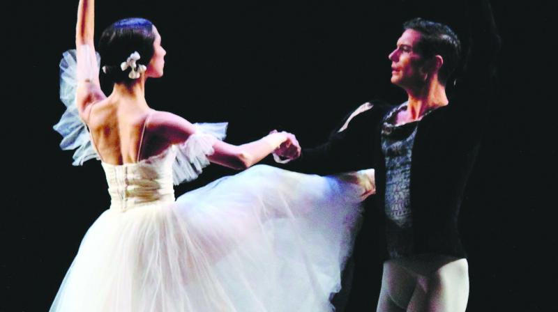 The evening opened with the familiar pas de deux from La Sylphide, version by Bournonville, when the young lovers meet in a forest before their lives are torn apart. (Photo: Seher)