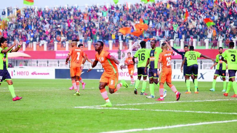 Neroca FC's Varney Kallon Kiatamba celebrates his goal in their I-League match against Gokulam Kerala FC in Imphal on Sunday. Neroca won 1-0.