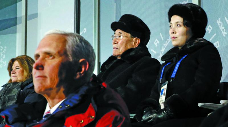 Kim Yo-jong, top right, sister of North Korean leader Kim Jong-un, sits alongside Kim Yong-nam, president of the Presidium of North Korean Parliament, and behind U.S. Vice President Mike Pence as she watches the opening ceremony of the 2018 Winter Olympics in Pyeongchang, South Korea, on Friday. (Photo: AFP)