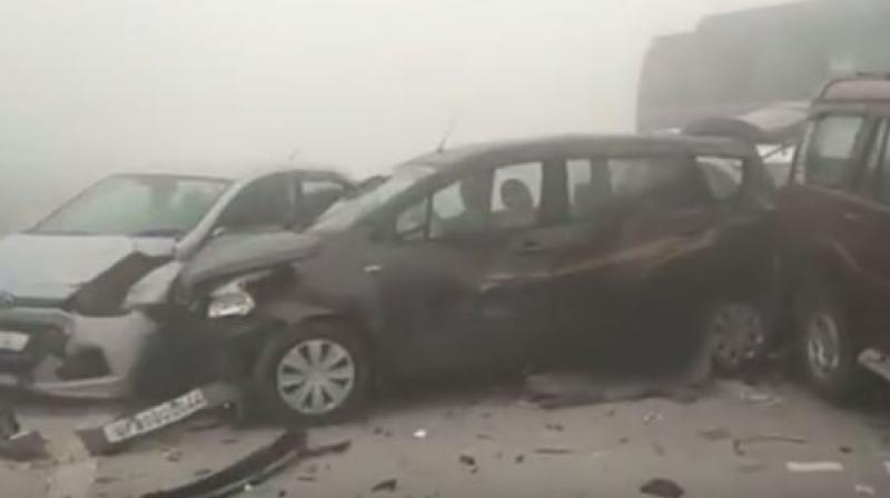 Video: 30 hurt as thick fog causes pile-up of 20 cars on Yamuna