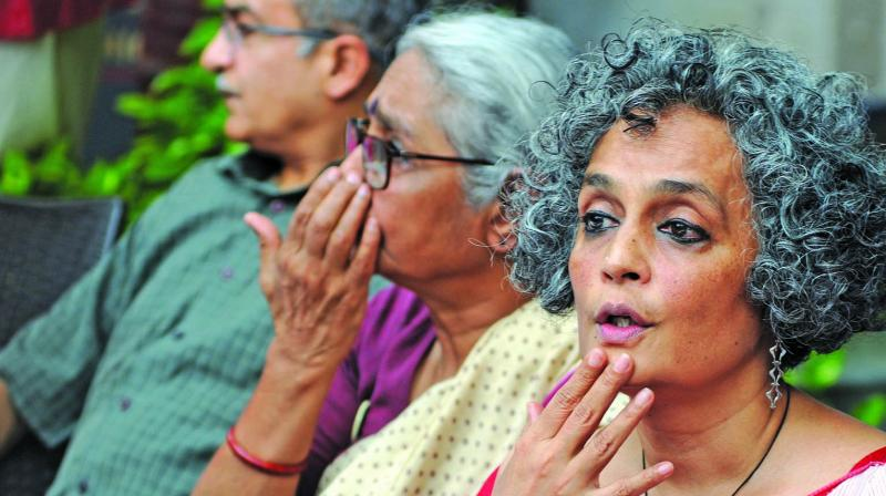 Activists Arundhati Roy, Aruna Roy and senior advocate Prashant Bhushan arrive to address a press conference in New Delhi on Thursday on the recent crackdown against rights activists. (Photo: Biplab Banerjee)