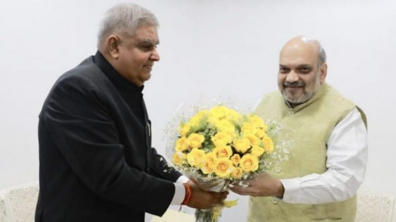 West Bengal Governor Jagdeep Dhankhar with Home Minister Amit Shah on Friday at New Delhi. (Photo- Twitter/ @jdhankhar1)