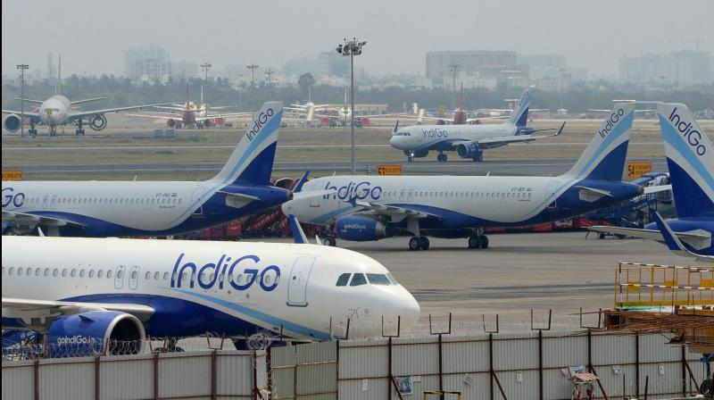 IndiGo reported a net loss of Rs 2,844 crore in the quarter ended June. (PTI Photo)