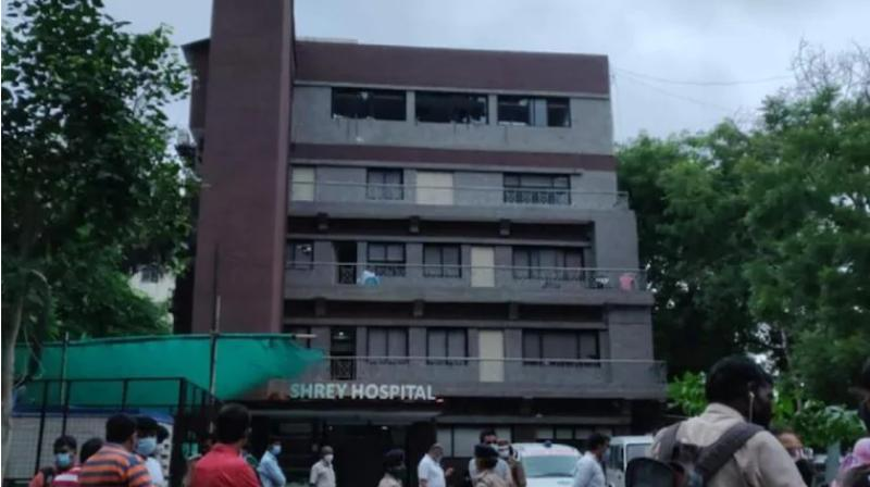 The fire started around 3.30 am in the ICU unit of Shrey Hospital in Ahmedabad. (Photo-Twitter)