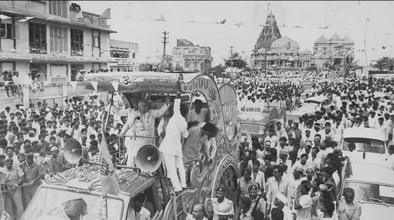 BJP leader LK Advani leading Ram Rath yatra from Somnath to Ayodhya during 1990. (File Photo)