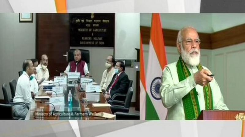 PM launches financing facility worth Rs 1 lakh crore under Agri-Infra Fund. (ANI Photo)