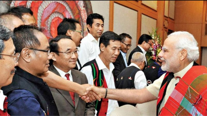 Prime Minister Narendra Modi meets Nationalist Socialist Council of Nagaland (NSCN–IM) leaders at the signing ceremony of the framework agreement between the government of India and NSCN(IM) in New Delhi. (File Photo- PTI )