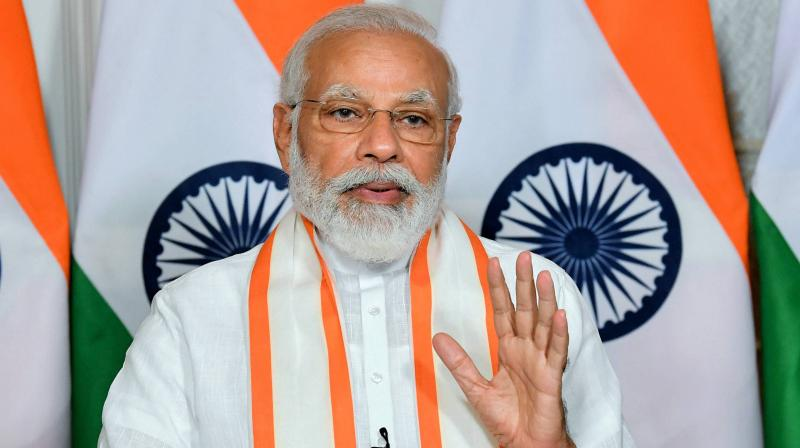 PM Modi inaugurates first ever optical fibre cable project for Andaman and Nicobar Islands. (PTI Photo)