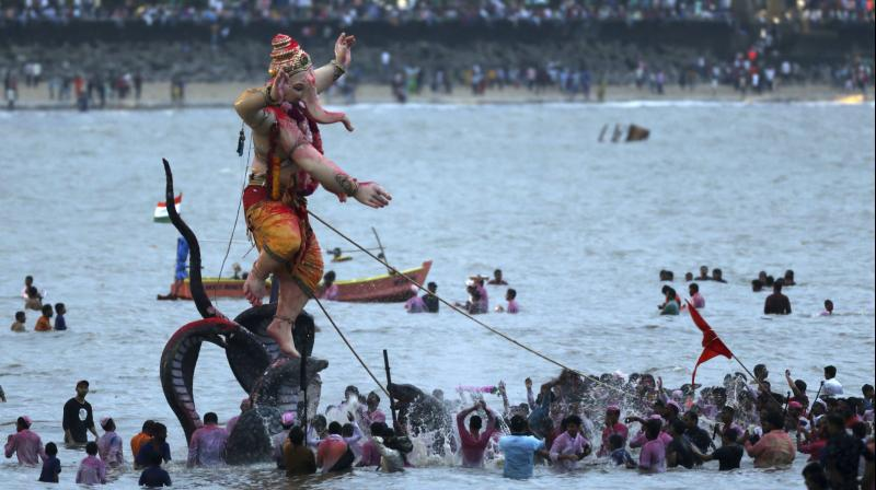 Brihanmumbai Municipal Corporation clarified that there were no restrictions on immersion of idols at the city's beaches. (PTI Photo)