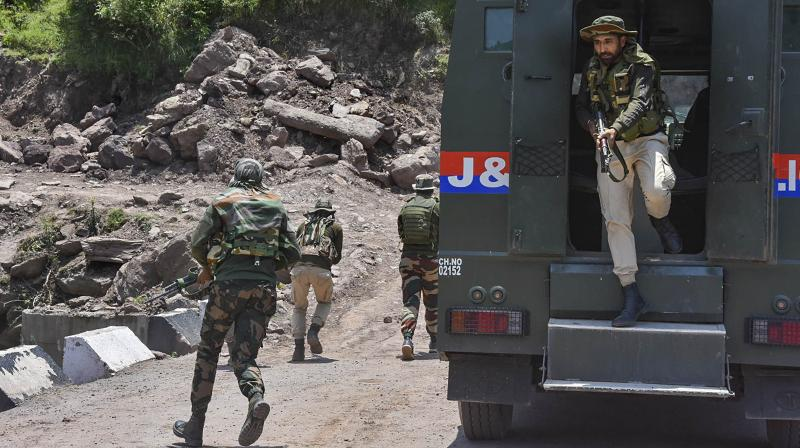 Two police personnel were killed and one other suffered injuries in the attack by terrorists near Nowgam bypass. (PTI Photo)