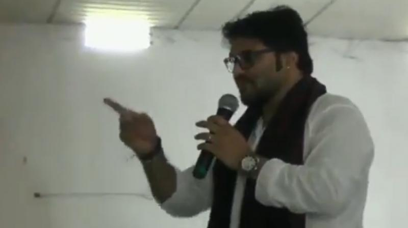 Babul Supriyo was invited at Samajik Adhikarita Shivir, an event organised to donate wheelchairs and other equipment for the differently-abled. (Photo: ANI Screengrab)