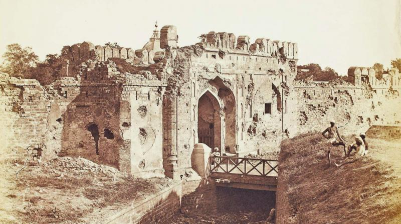 A 1858 image of the Cashmere Gate, Delhi by Felice Beato
