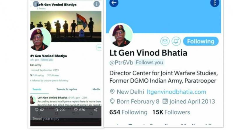 The fake twitter handle of Lt. Gen. Bhatia (former DGMO) (left) created to spread propaganda on Kashmir.
