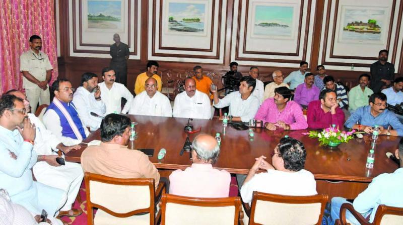 Keshav Prasad Maurya at the meeting. (Photo: ASIAN AGE)