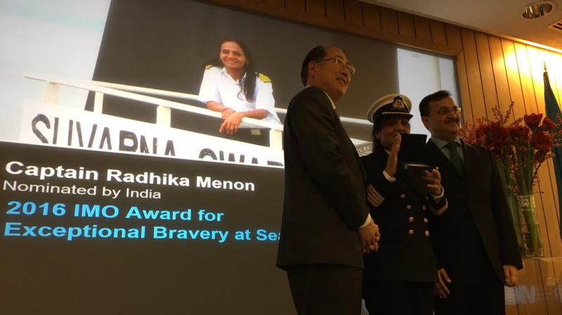 Captain Radhika Menon received her medal and certificate of commendation at an awards ceremony at the International Maritime Organisation (IMO) headquarters in London last evening. (Photo: Twitter/ANI)