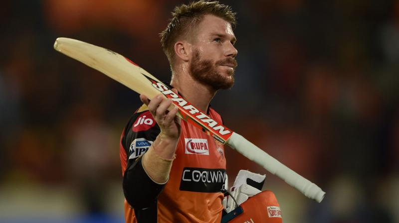 Warner helped his side hand over woeful KKR a humiliating nine-wicket defeat as they chased down the modest target of 160 runs with five overs to spare. (Photo: PTI)