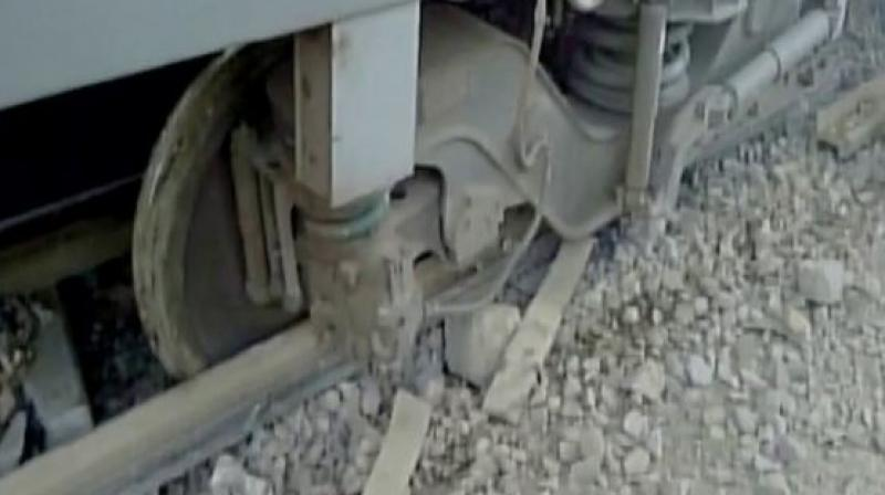 At around 2.00 PM on Sunday, 11 coaches of the Mumbai-Lucknow Lokmanya Tilak Express derailed when it arrived at platform number 3 of Unnao station.  (Photo: ANI/Twitter)