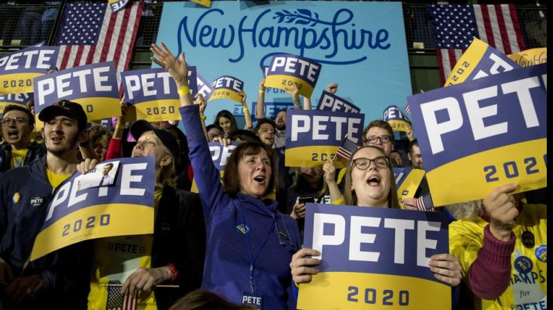 Supporters of Democratic presidential candidate former South Bend, Ind., Mayor Pete Buttigieg cheer at a primary night election rally at Nashua Community College. AP photo