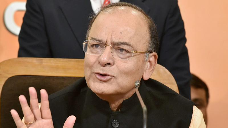 Union Finance Minister and senior BJP leader Arun Jaitley addressing a press conference at the party office in Lucknow on Tuesday. (Photo: PTI)
