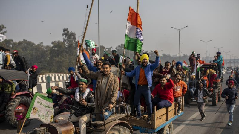 A group of farmers who were holding a protest in Zirakpur and Kharar towns in Punjab, both on the outskirts of Chandigarh, said they were allowing ambulances and other emergency vehicles to pass. (AFP file photo)