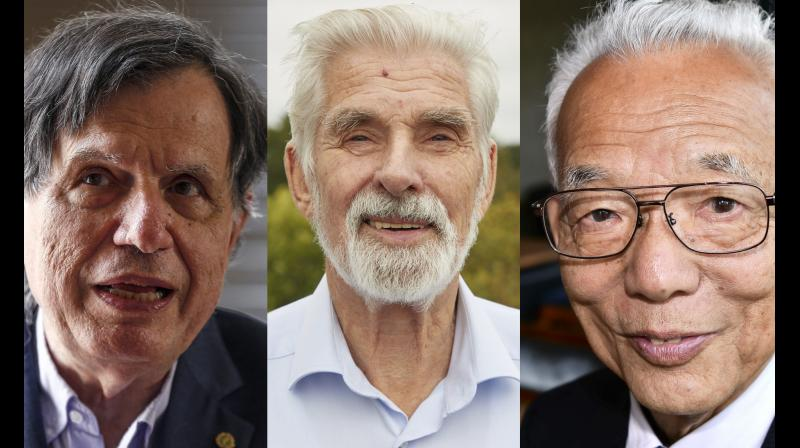 US-Japanese scientist Syukuro Manabe, Klaus Hasselmann of Germany and Giorgio Parisi of Italy on Tuesday won the Nobel Physics Prize for climate models and the understanding of physical systems. (Photo:AP)