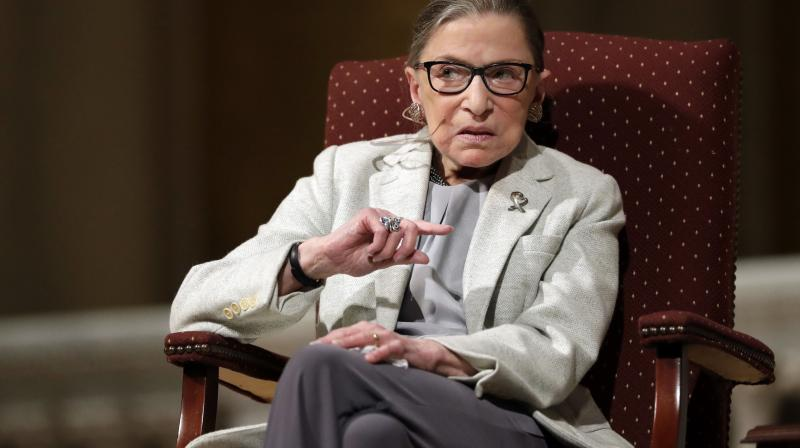 Supreme Court Justice Ruth Bader Ginsburg speaks at Stanford University in Stanford, Calif. The Supreme Court says Ginsburg has died of metastatic pancreatic cancer at age 87. (AP File)
