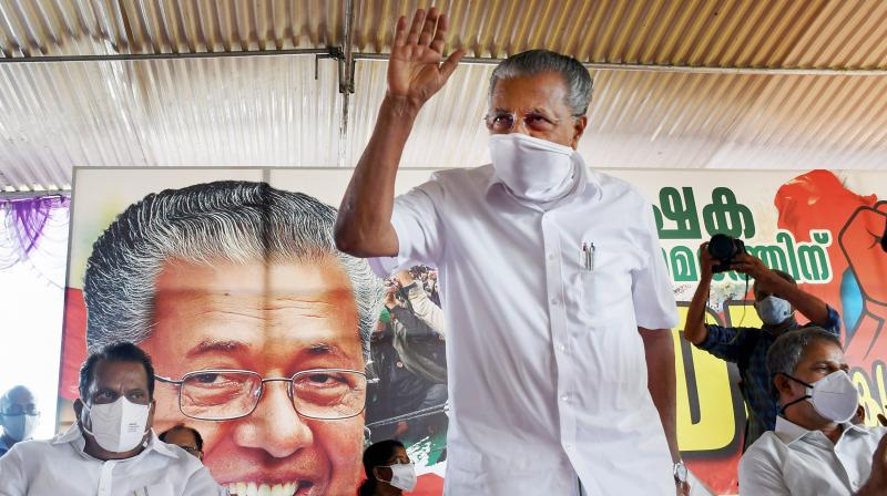 Kerala Chief Minister Pinarayi Vijayan during a protest meet in solidarity with farmers protesting in New Delhi against the Centre's new farm laws in Thiruvananthapuram on Wednesday, December. 23, 2020. (PTI)