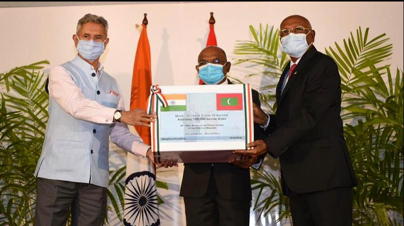 External Affairs Minister S Jaishankar hands over 100,000 additional doses of COVID vaccine to Maldives' Foreign Minister Abdulla Shahid and Health Minister Kerafa Naseem. (PTI)