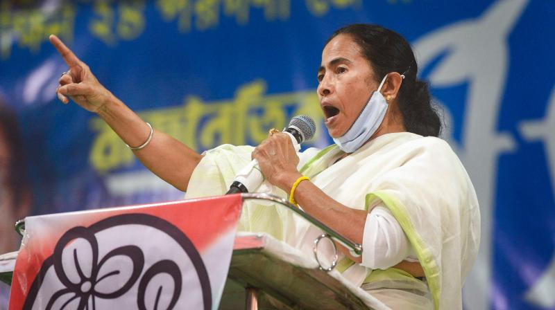 West Bengal Chief Minister Mamata Banerjee addresses a public rally at Poilan in Kolkata on February 18, 2021. (PTI)