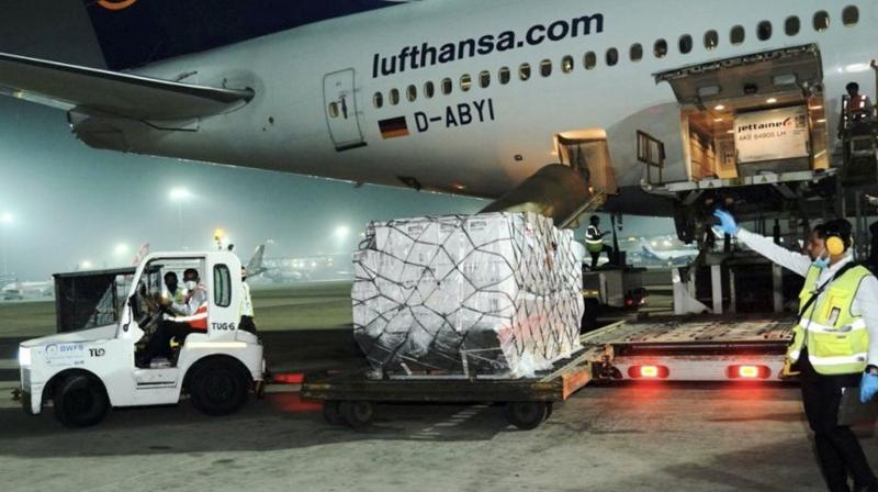 Medical supplies from the United Kingdom reach Delhi Airport, in New Delhi on Tuesday, April 27, 2021. (PTI file photo)