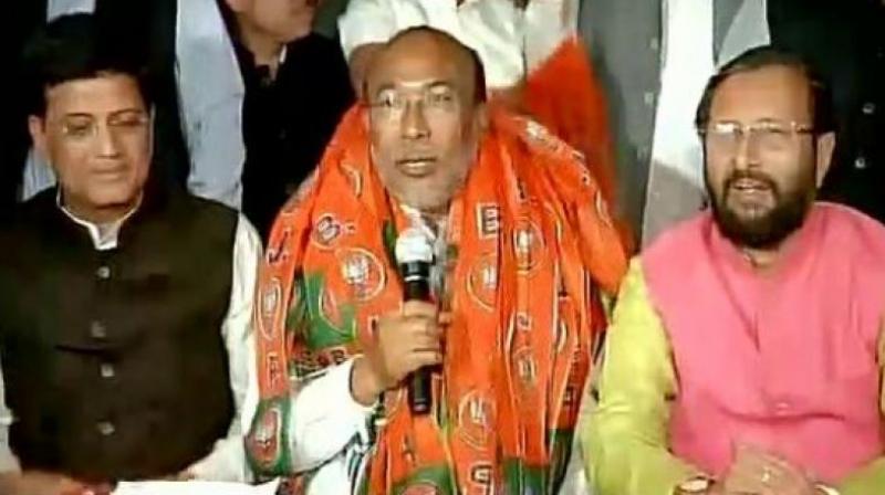 Bharatiya Janata Party (BJP) chief ministerial candidate N. Biren Singh. (Photo: ANI Twitter)