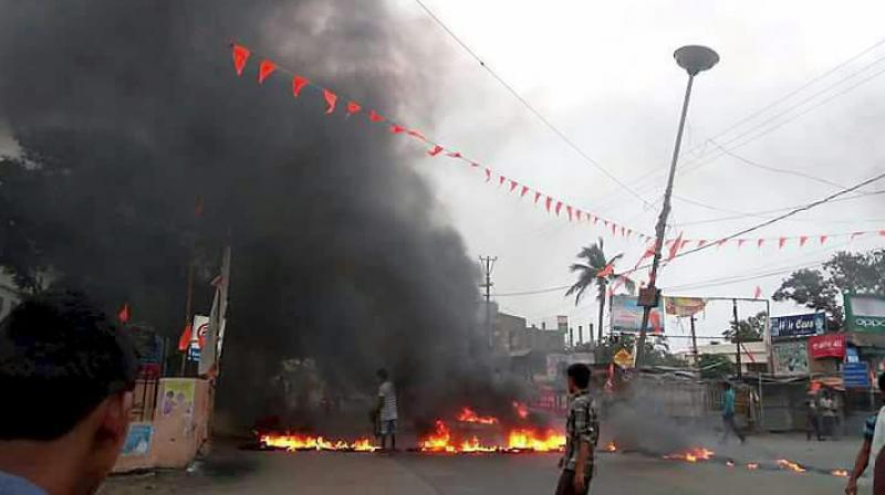 A scene after communal tension broke out in Bhadrak, Odisha on Friday. (Photo: PTI)