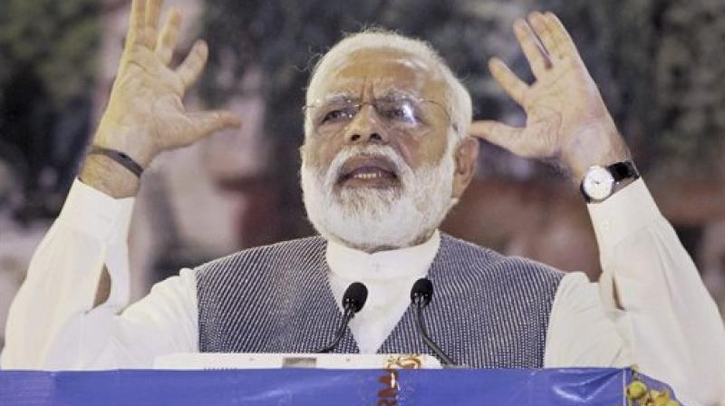 Prime Minister Narendra Modi addressing the inaugural ceremony of the Patanjali Research Institute, in Haridwar on Wednesday. (Photo: PTI)