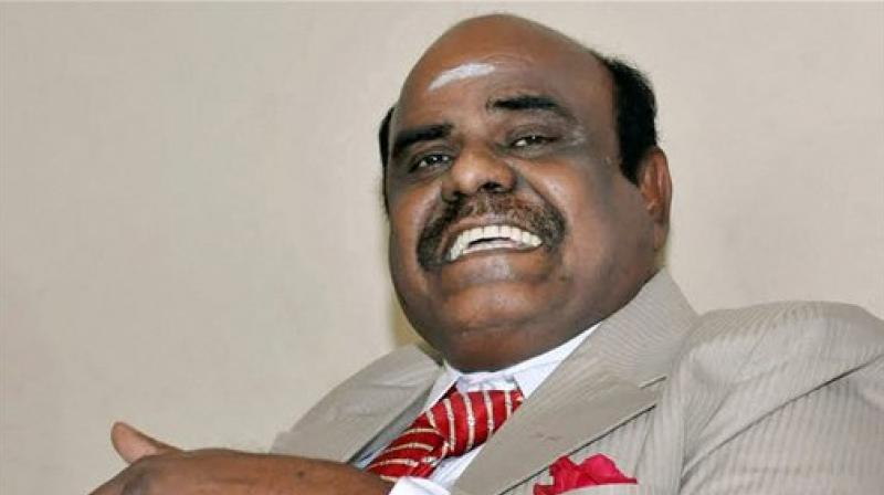 Justice C S Karnan of Calcutta High Court addressing a press conference at his residence in Kolkata last month. (Photo: PTI)