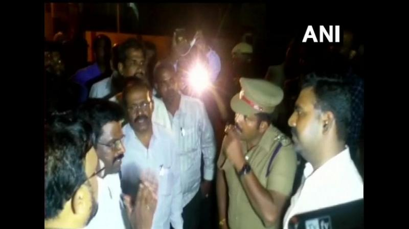 Income Tax department and Election Commission officials are conducting raids since last night at Dravida Munnetra Kazhagam (DMK) treasurer Durai Murugan's residence in Vellore, officials said on Saturday. (Photo: ANI)