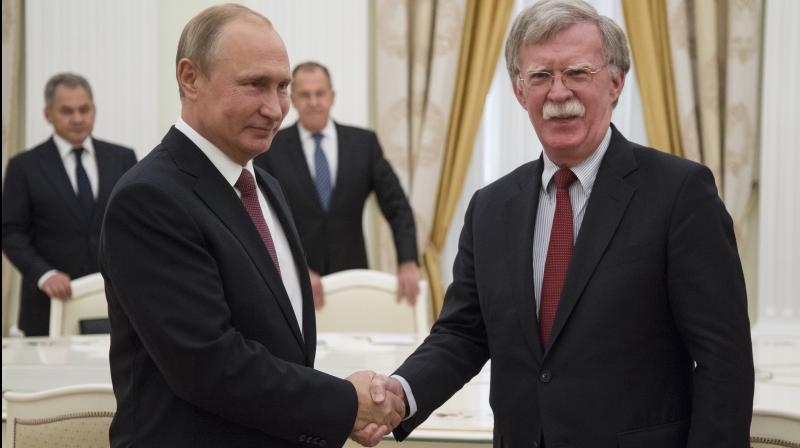 Bolton said he discussed concerns about Russian meddling in the US elections with Putin during his visit to Moscow on Wednesday. (Photo: AP)