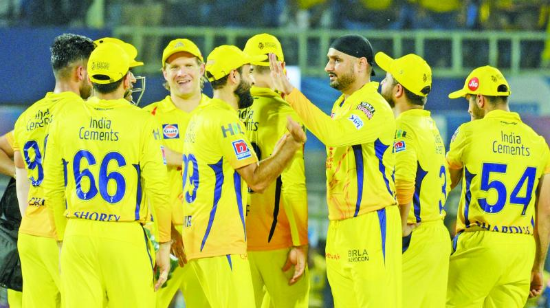 Chennai Super Kings celebrate a Delhi Capitals wicket during the IPL Qualifier 2. (Photo: Murali Krishna)