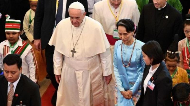 Pope Francis is on a four-day trip in mainly Buddhist Myanmar, where he has refrained from directly weighing-in on the Rohingya crisis, instead choosing the deliberate language of tolerance and forgiveness. (Photo: AFP)