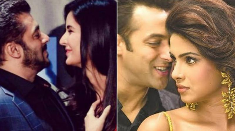 Salman Khan and Katrina Kaif at an event, Salman and Priyanka Chopra in a movie.