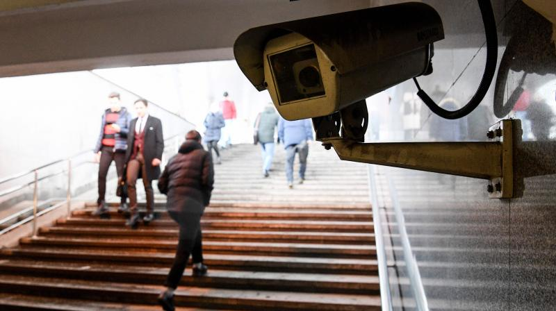 A picture shows a surveillance camera in an underground passage in Moscow on January 27, 2020. - A vast and contentious network of facial-recognition cameras keeping watch over Moscow is now playing a key role in slowing the rapid spread of coronavirus in Russia. (Photo | AFP)