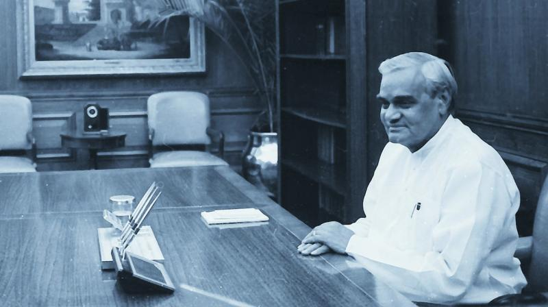 A file photograph of Atal Behari Vajpayee at the PMO.
